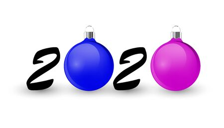 Happy New Year design for celebration card, holiday greeting, calendar, banner with zero made from Christmas ball, realistic blue and pink baubles and 2020 number. Typography graphic eps 10 Vector illustration