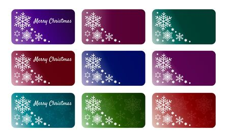 Collection of nine christmas gift tags with white various snowflakes and stars. Set of printable various color gradient holiday label with copy space. Vector EPS10 editable gift box or party badge design