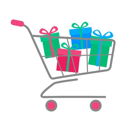 Simple flat shopping cart or trolley full of colorful gift boxes with bow ribbon. Buying christmas present or online sale concept. Vector Eps10 illustration