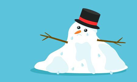 Cuite sad melting snowman with hat and tears in flat cartoon style, isolated on blue background. Vector EPS 10 illustration.