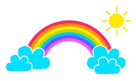 Colorful rainbow icon with cartoon clouds and sun isolated on white background. Zdjęcie Seryjne