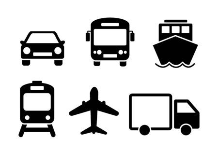 Means of transport icon set. Black solid flat travel modes web icons of car, train, ship, airplane and bus.