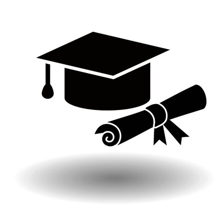 Graduation black vector icon. Flat solid illustration of mortarboard cap or graduation hat with rolled diploma isolated on white backfround. Design for apps and websites.