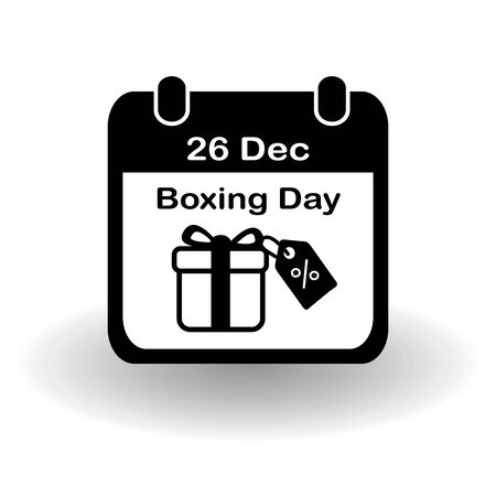 Boxing Day icon. Simple flat calendar page of december 26, Boxing Day with present box with discount tag. Eps 10 vector Zdjęcie Seryjne
