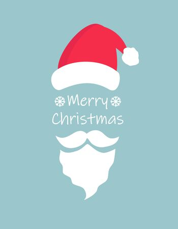 Merry christmas typography greeting card with christmas hat and santa claus white beard and moustache on blue background. Simple flat vector EPS10 illustration.