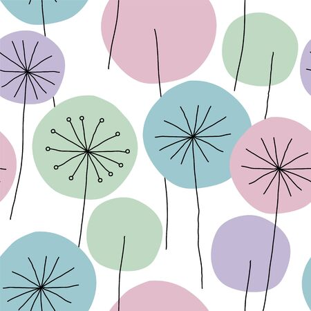 Seamless abstract floral pattern with hand drawn dandelion flowers black outline and pastel colors on white background. Vintage retro style. Vector eps10.