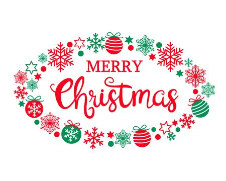 Merry Christmas text. Calligraphic hand drawn lettering design in oval frame from various balls, stars and snowflakes, red and green. Typography red letters isolated on white background. Vector EPS 10 illustration for Holiday cards, invitation, print, web