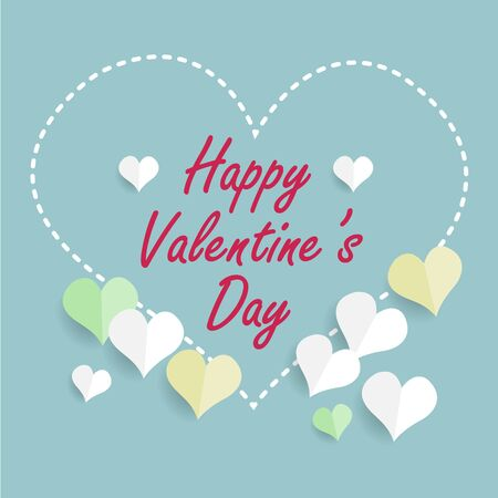 Happy valentines day greetings card design with stitched white heart shape and green and yellow paper cut hearts with shadows isolated on blue background. Vector EPS 10 illustration