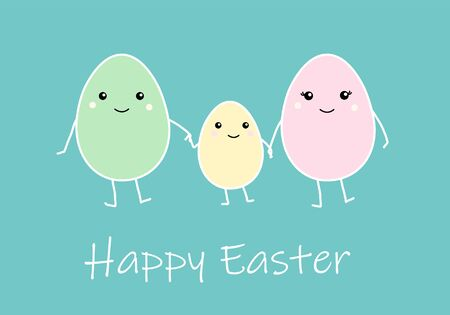 Happy Easter greeting card with Cute cartoon egg family, mather father and kid. Colorful funny smiling character with hands, legs, eyes. Flat design kawaii style. Blue background. Vector illustration.