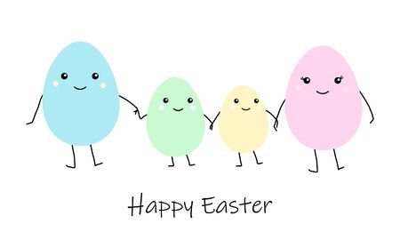 Happy Easter greeting card with Cute cartoon egg family, mather father and kids. Colorful funny smiling character with hands, legs, eyes. Flat design, kawaii style. white background. Vector eps10. Illustration
