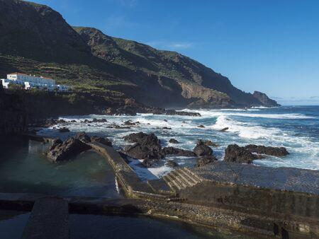 Natural sea swimming pool at la Fajana with waves of atlantic ocean, La Palma, Canary Islands, Spain