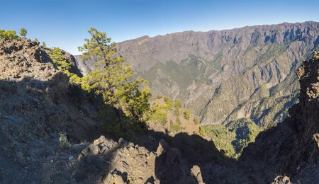Panoramic view on crater Caldera de Taburiente from viepoint at top of Pico Bejenado mountain on the island La Palma, Canary Islands, Spain.