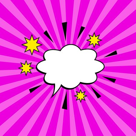 Comic burst with pink purple rays, cartoon explosion with cloud shape speech bubble and place for text, vector Eps10 background