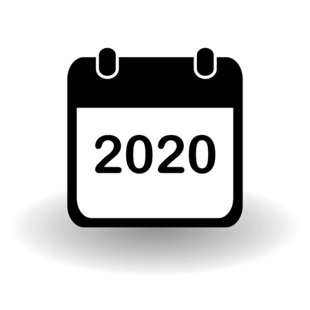 New year 2020 calendar page icon. Simple flat organizer in solid black and white with vector shadow. Eps 10 illustration.