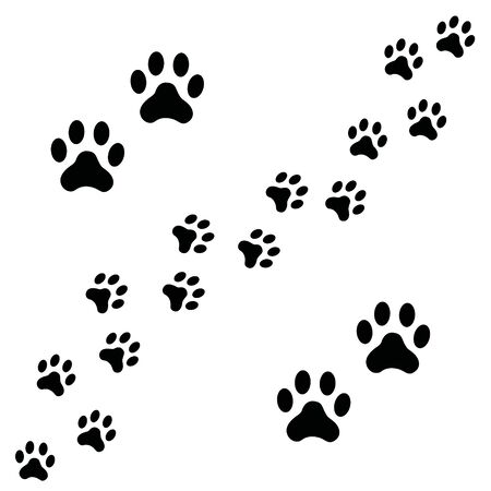 Black Footpath trail of dog prints walking randomly. Animal footprints, dog or cat paws print isolated on white background. Vector illustration of footprint silhouette.
