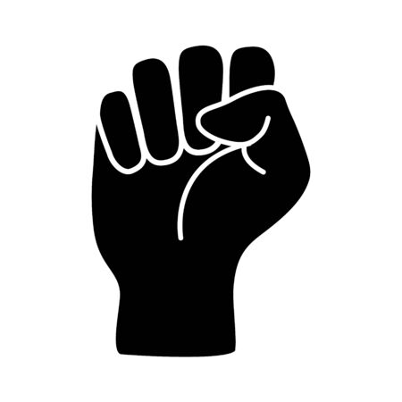 Raised black fist vecor icon. Victory, rebel symbol in protest or riot gesture symbol. Simple flat black and white pictogram illustration Vettoriali