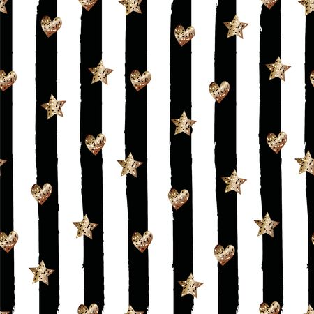 Seamless cute trendy pattern with Golden glitter stars and hearth on black hand drawn striped background. Vector design for fabric textile, wrapping paper, wallpaper, wedding, cards