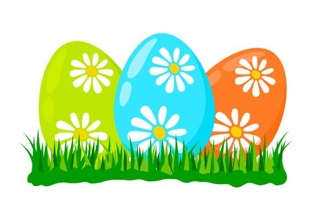 Three painted egg lying in spring grass green . blue and orange decorated with daisy flowers, Easter decoration symbol design element, flat vector illustration isolated on white background 向量圖像
