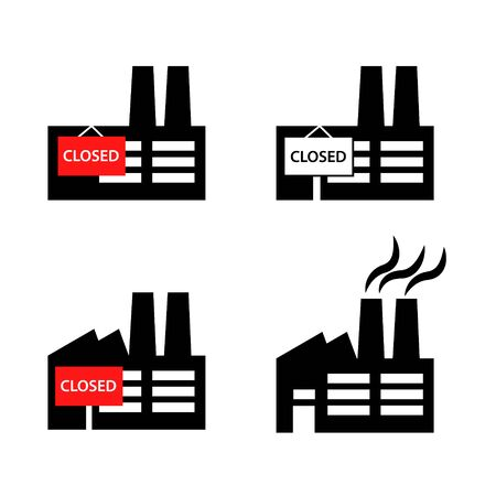 Industrial building factory or company icon with red poster closed and working pictogram set. Simple black flat style vector