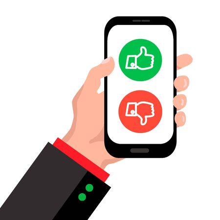 Website rating feedback and review concept. Man hand holding smartphone with vote like and dislike thumbs up and thumbs down. Color flat desig vector eps10 illustration.