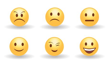 Set of six yellow cute happy smiling, sad, angry, suprised and neutral emoticons. Faces emotions. Facial expression, mood. 3d emoji. Funny cartoon character. Web icon. Vector eps10 illustration.