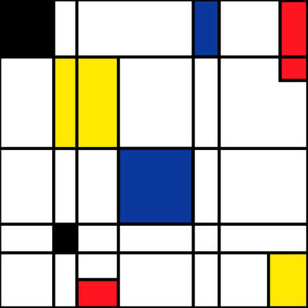 Mondrian seamless pattern. Bauhaus abstract checked geometric style background in blue, red,yellow and black. Colorful vector illustration. Mosaic Piet Mondrian emulation. Ilustracja