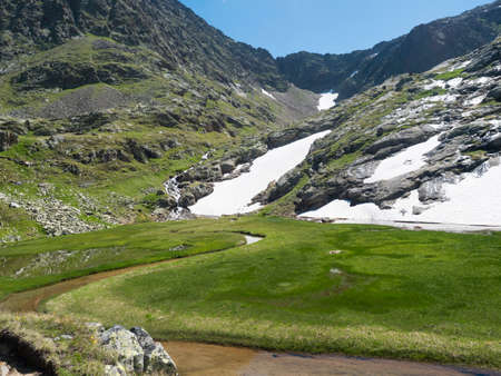 Beautiful wetland from spring, melting ice and snow, alpine mountain meadow called Paradies with lush green grass and flowers. Stubai hiking trail, Summer Tyrol Alps, Austria