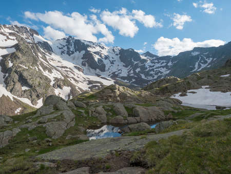 View from Bremer Hutte with lake from melting snow tongues and snow-capped moutain peaks, lush green meadow, blue sky backgound. Late spring sunny afternoon, vibrant colors Archivio Fotografico