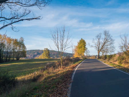 Asphalt road winding through colorful deciduous forest in the autumn with fallen leaves of oak and Maple and birch Trees, deminishing perspective, blue sky white clouds