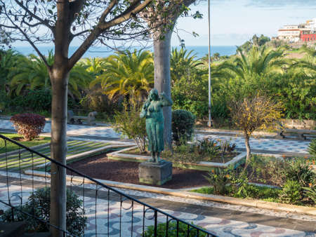 Arucas, Gran Canaria, Canary Islands, Spain December 13, 2020: View of city park, garden at old town center of Arucas Editöryel