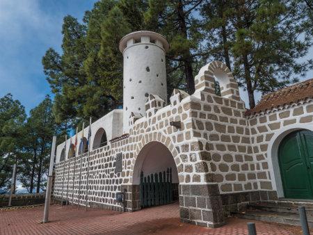Cruz de Tejeda, Canary Islands, Spain December 15, 2020: view of old stone building of panoramic spa hotel Parador de Cruz de Tejeda Editöryel
