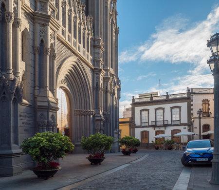 Arucas, Gran Canaria, Canary Islands, Spain December 13, 2020: View on door portal of parish church of San Juan Bautista, impressive Neo gothic Cathedral