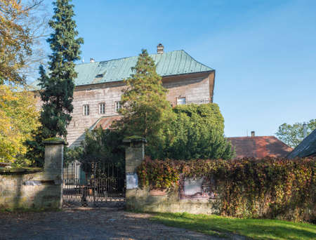 Czech Republic, Houska, October 25, 2020: Medieval early Gothic Castle Houska in north Bohemia in autumn time, Houska Castle is one of the best preserved castles of the period. Sunny day blue sky.