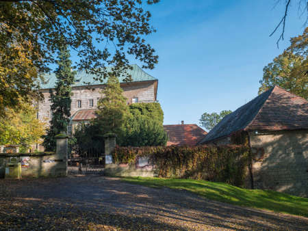 Czech Republic, Houska, October 25, 2020: Medieval early Gothic Castle Houska in north Bohemia in autumn time, Houska Castle is one of the best preserved castles of the period. Sunny day blue sky