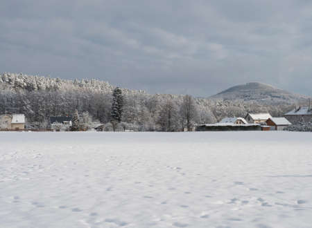 Winter landscape with view of village Travnik with country houses and cottage, surrounded by snow-covered fields and snowy frost forest and trees on cloudy day