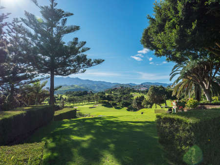 Las Palmas, Gran Canaria, Canary Islands, Spain December 16, 2020: View over green golf course of Real Club de Golf Las Palmas. Canaries are a famous golfing destination with golf weather all year