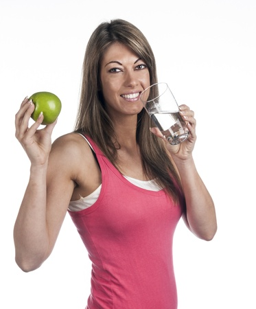 Woman with apple and water Stock Photo