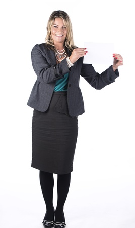 A blonde business woman holding up a white card against a white background