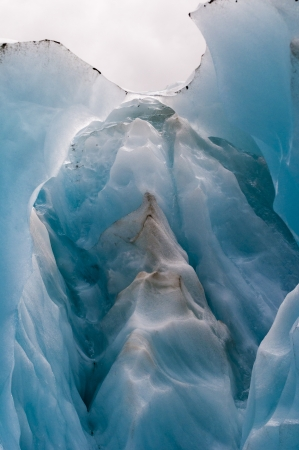 Blue colored glacier ice of the Franz Josef glacier in New Zealand