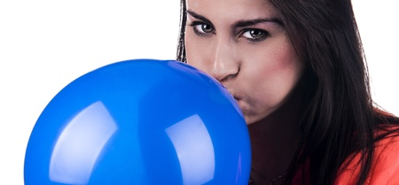 A studiuo photograph of a Caucasian woman with a blue balloon photo