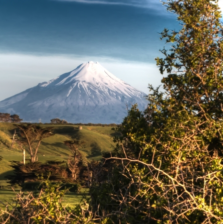 A High Dynamic Range image of Mount Taranaki in New Zealand Stock Photo