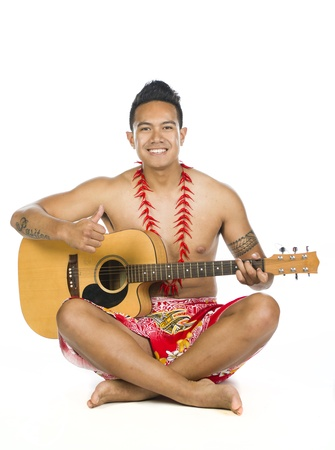 An image of a Polynesian man in the studio against a white background