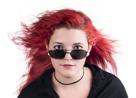 An image of a Caucasian girl with red hair against a white background Stock Photo - 21307858