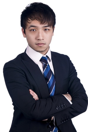 An image of an Asian businessman with a blue tie against a white background Stock Photo