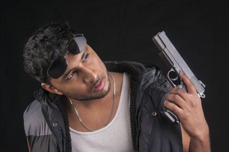 An image of a Middle Eastern man against a black background photo