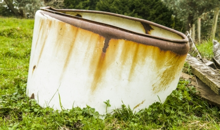 An image of an obsolete old rusty septic tank