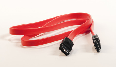 SATA cable on white background