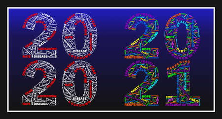 colorfull flat vector Illustarion of a wordcloud, comparing COVID-19 corona virus years 2020 vs. 2021 with text in numbers like LOCKDOWN, PLAGUE, FEAR, DISEASE, REOPENING, JOY, VACCINATION, HOPE 일러스트