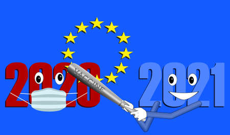 colorfull flat vector Illustarion of COVID-19 corona virus year 2021 hit 2020 with vaccine baseball bat. 2020 see stars of the european union on a blue background