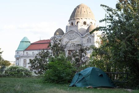 Tent in a park in the center of Budapest Stok Fotoğraf